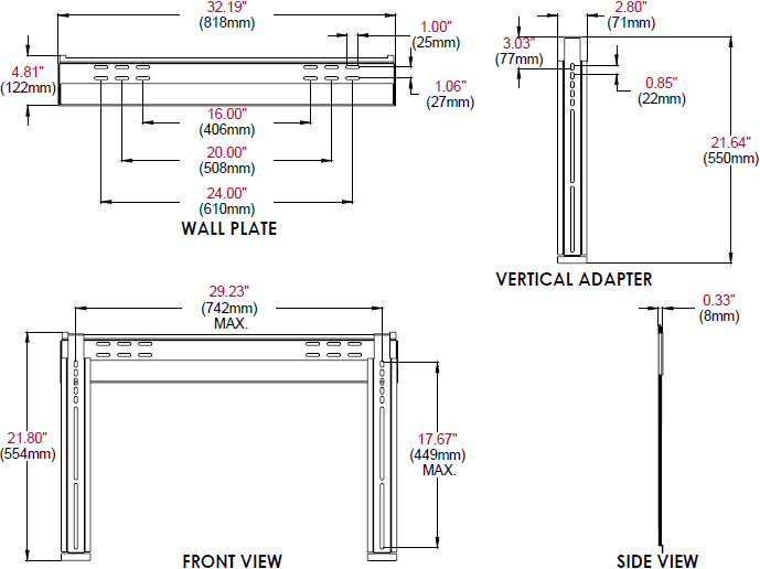 Technical drawing for Peerless SUF650P Universal Ultra Slim Flat Wall Mount