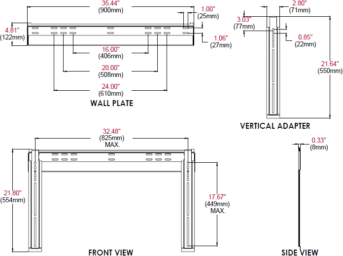 Technical drawing for Peerless SUF660P Universal Ultra Slim Flat Wall Mount