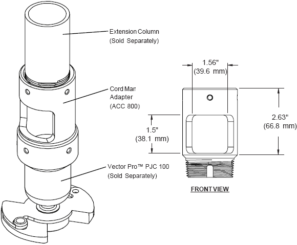 Technical Drawing for Peerless ACC800 Extension Column Connector