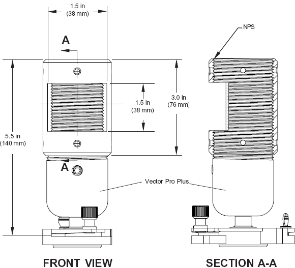 Drawing for Peerless ACC850 or ACC850-S Extension Column Connector