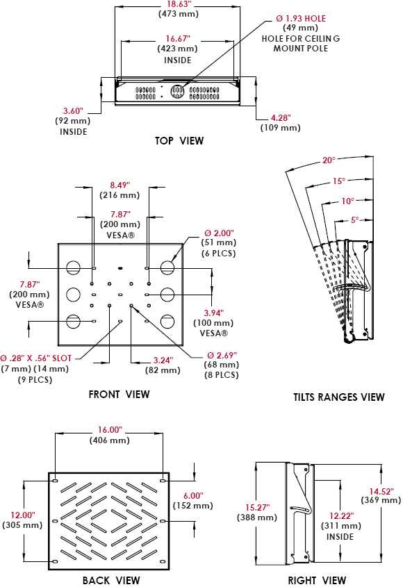 Technical Drawings for Peerless DST360 Flat or Tilt Universal Wall or Ceiling Mount with Computer or Media Controller Storage for 26 to 60 inch Displays