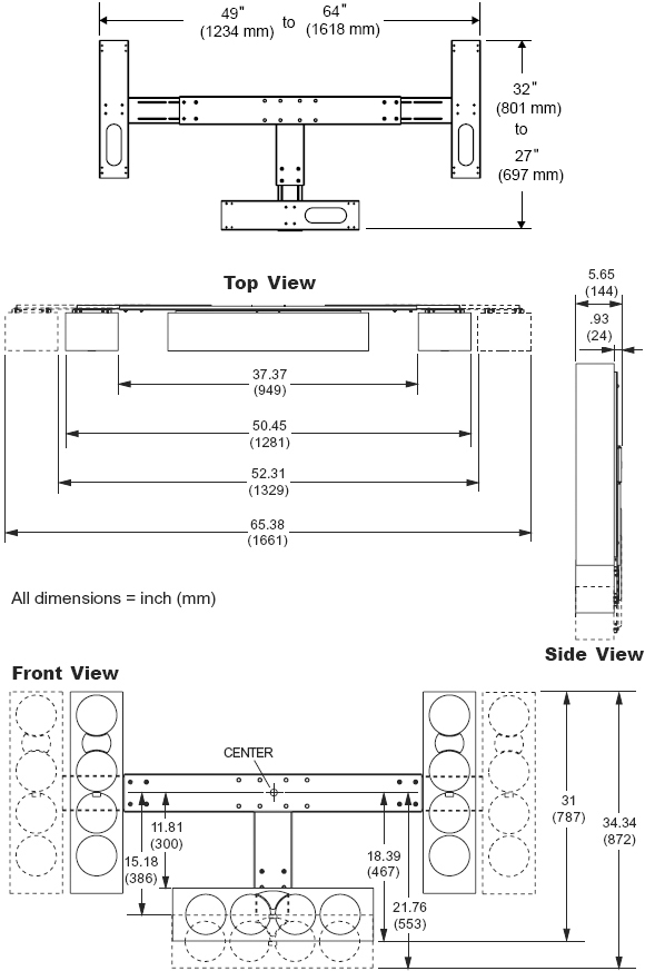 Technical Drawing for Peerless MSA301 Multi-Channel Speaker Mount