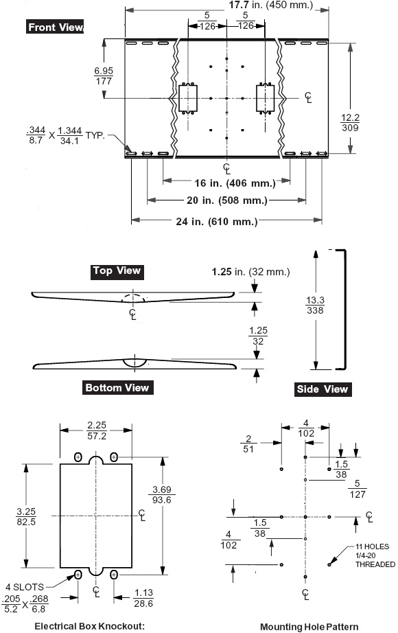 Technical Drawing for Peerless WSP425 Flat Panel and CRT Mount External Wall Mount