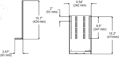 Technical Drawing for Peerless ACC932-S or ACC932 DVD or VCR A/V Mount Connector