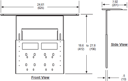 Technical Drawing for Peerless ACC319 Video Conferencing Shelf