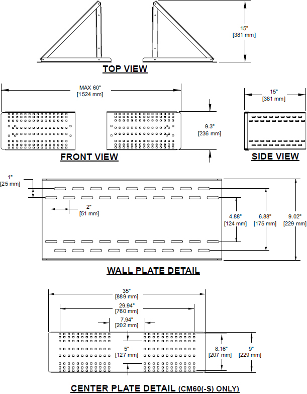 "Technical drawing for Peerless CM60 Corner Mounting Accessory for 40""-60"" Displays"
