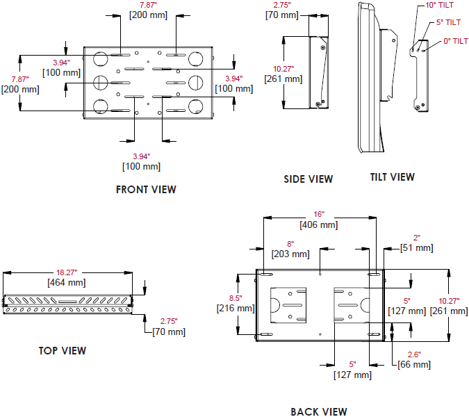 Technical Drawing for Peerless DS509 Slim Tilt Mount with PC Holder