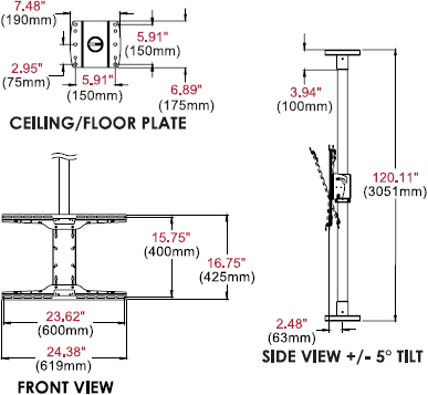 "Technical Drawing for Peerless MOD-FCSKIT300 Modular Series Floor-to-Ceiling Kit for 32"" to 60"" Displays"