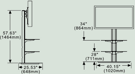 Dimensional diagram for Peerless SS550P SmartMount Flat Panel TV Stand with two Shelves