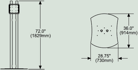 Dimensional Diagram for Peerless FPZ600 Flat Panel Display Mount Stand FPZ-600
