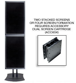Two stacked screens or four screen formation requires accessory dual screen cartridge (ACC604)