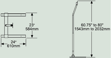 Dimensional Diagram for Peerless LCFS-100 LCD Pedestal Stand for 10 to 30 inch Flat Panel Screens