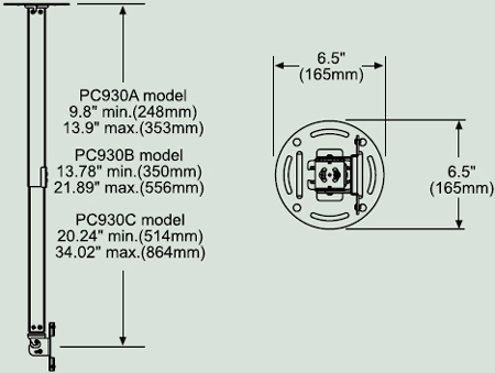 "Dimensional Diagram for PC-930B Paramount ceiling Mount for 15""- 24"""