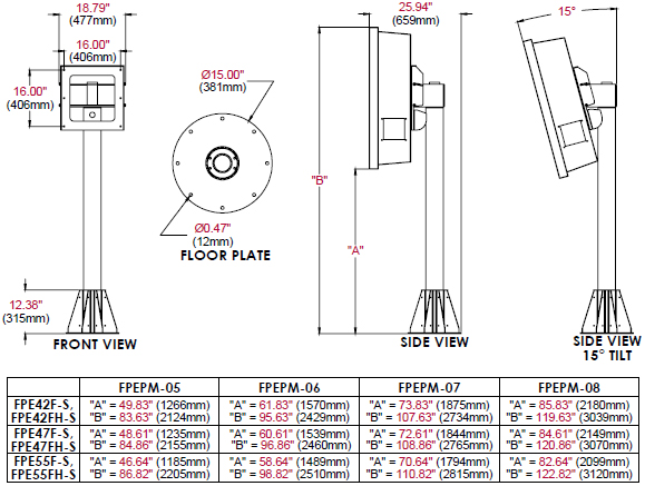 Technical Drawing for Peerless FPEPM 5 to 8 feet Indoor/Outdoor Tilting Pedestal Mount