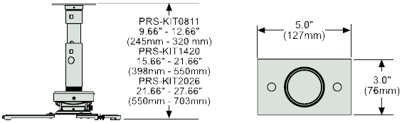 Dimensional Diagram for Peerless Adjustable Height Projector PRS-KIT0811