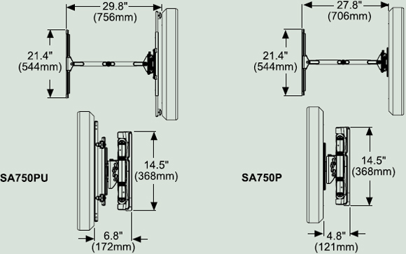 Dimensional Diagram for SA750 Articulating Wall Arm for 32