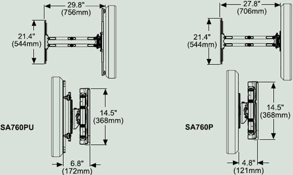 Dimensional Diagram for SA760 Articulating Wall Arm for 37