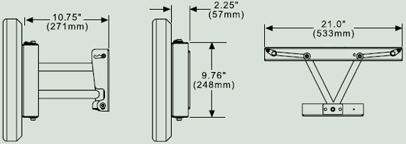 Dimensional Diagram for Pull-Out Swivel Wall Mount SP850
