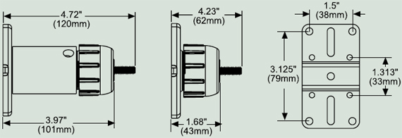 Dimensional Diagram for Peerless PM 732 Speaker Mount for Wall or Ceiling
