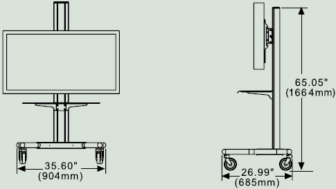 Dimensional Diagram for Peerless Flat Panel TV Carts SR560M