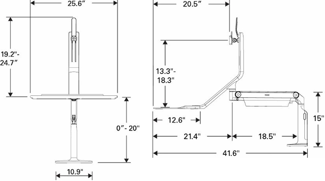 Technical drawing for Humanscale QuickStand Lite Dual Monitor Sit-Stand Workstation