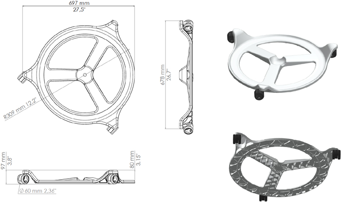 Technical Drawing For Back App Wheels Office Chair