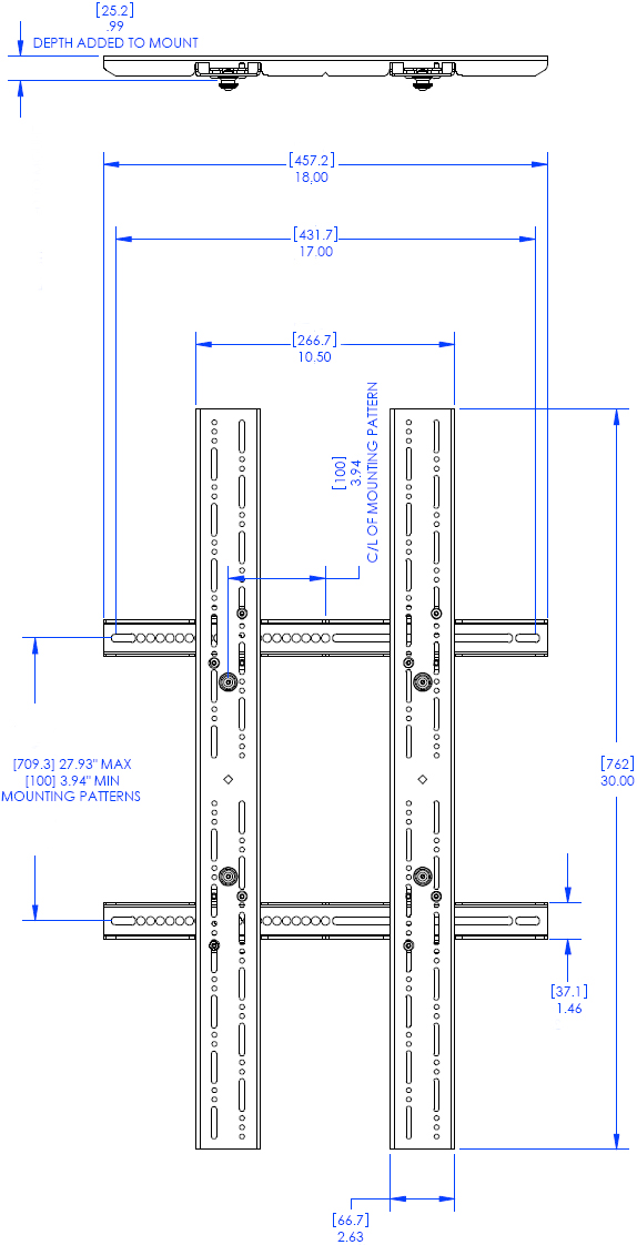 Technical Drawing for MFCUB Universal Flat Panel Mobile Cart - VESA Hole Pattern Image