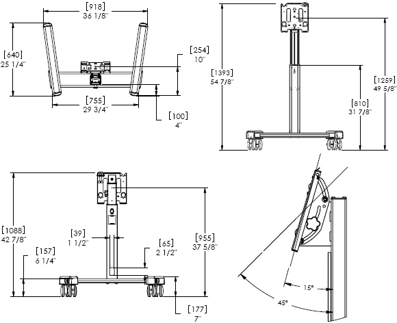 Technical drawing for Chief MFMUB or MFMUS Universal Flat Panel Confidence Monitor Cart