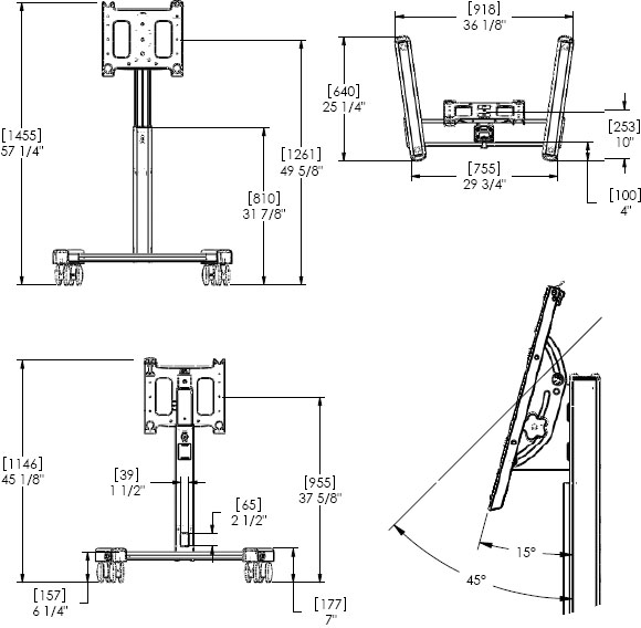 Technical Drawing for Chief PFMUB or PFMUS Flat Panel Confidence Monitor Cart
