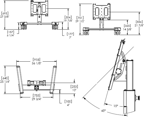 Technical Drawing for Chief PFQUB or PFQUS Flat Panel Confidence Monitor Mobile Cart