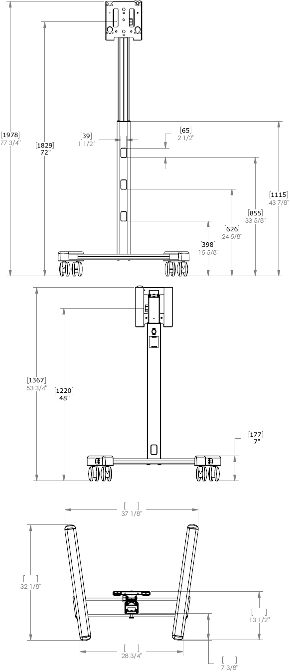 Technical Drawing of Chief MFCUS700 Mobile Cart MFCU with PAC700 Case