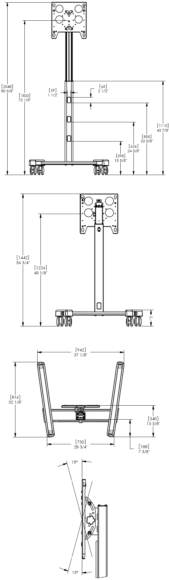 Technical Drawing for Chief PFCUB or PFCUS Universal Flat Panel Mobile Cart