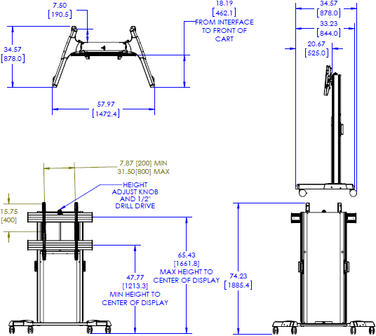 Technical drawing for Chief XPA1U Series X-Large Fusion Manual Height Adjustable Cart