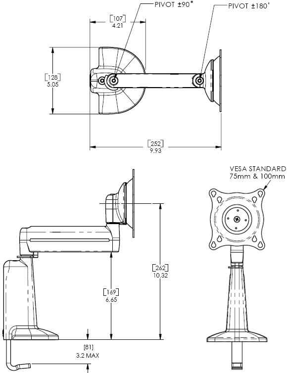 Technical Drawing of Chief KCS1100B or KCS110S Desk Mount Single Swing Flat Panel LCD Arm