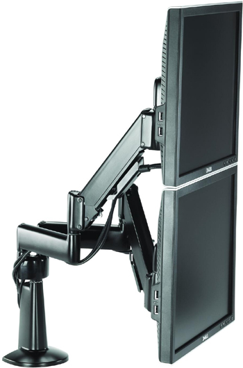 Chief KCY220B Desk Mount Dual Monitor Height Adjustable LCD Arm with Monitors