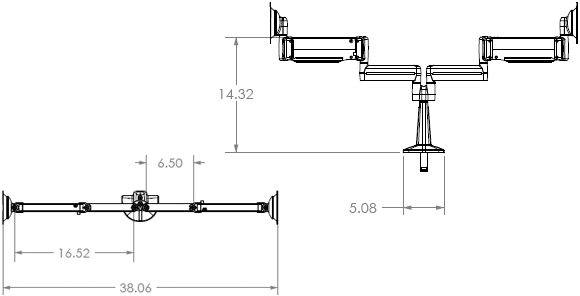 Technical Drawings for Chief KCY220B Height Adjustable Dual Monitor Arm Desk Mount