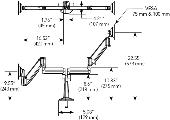 Technical Drawings for Chief KCY220B Height Adjustable Dual Monitor Desk Mount