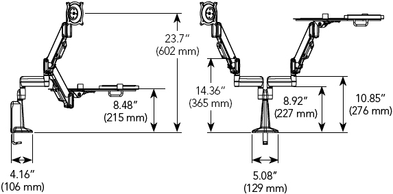Technical Drawing for Chief KGL220B or KGL220S Desk Mount Arm Height Adjustable Dual LCD Monitor or Laptop