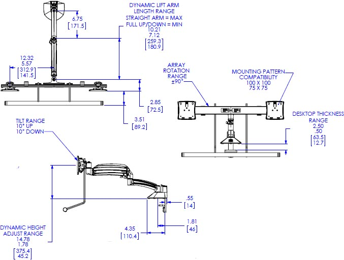 Technical Drawing for Chief Dynamic Dual Monitor Desk Mount, Reduced Height - K1D22HBXRH