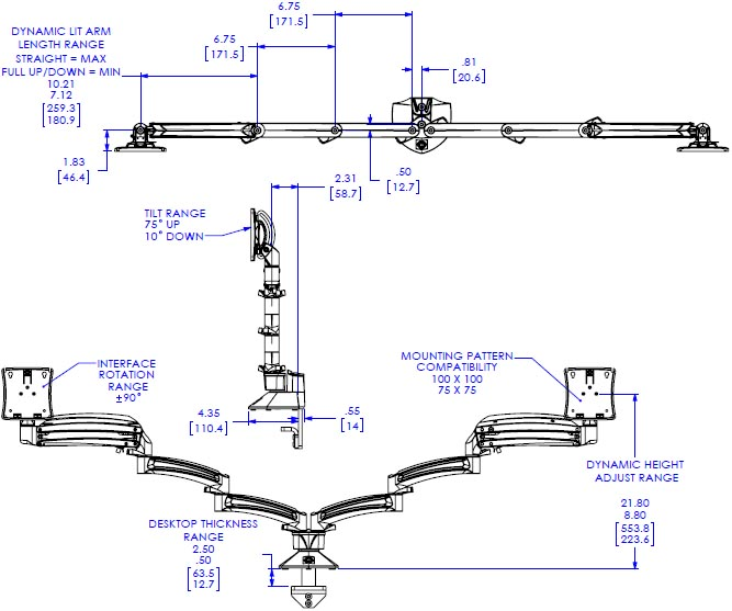 Technical Drawing for Chief K1D230 Dual Monitor Dynamic Desk Mount, Extended Reach