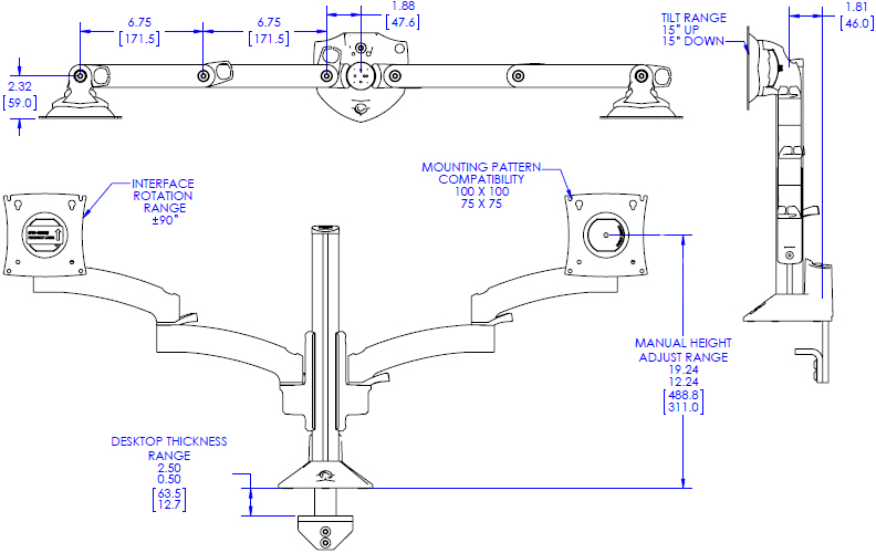Technical Drawing for Chief Kontour K2C Articulating Column Mount, 2 Monitors - K2C220