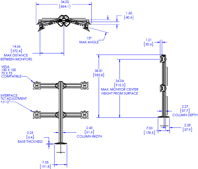 Technical Drawing for Chief K3G220B or K3G220S KONTOUR K3 Grommet Mounted 2x2 Array
