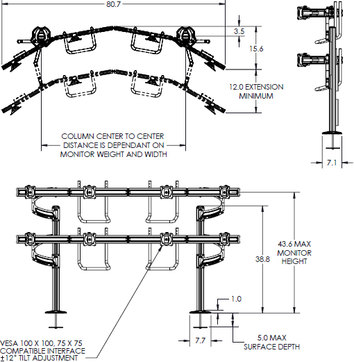 Technical drawing for Chief K4G420B KONTOUR K4 4x2 Grommet Mounted Array