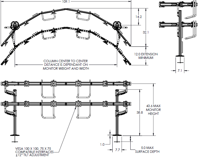 Technical drawing of Chief K4G620B KONTOUR K4 6x2 Grommet Mounted Array