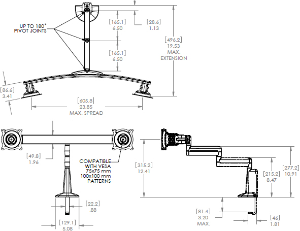 Technical Drawing for Chief Dual Arm Desk Mount, Dual Monitor KCD220B or KCD220S