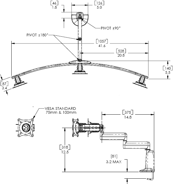 Technical Drawing for Chief Dual Arm Desk Mount, Triple Monitor KCD320B or KCD320S