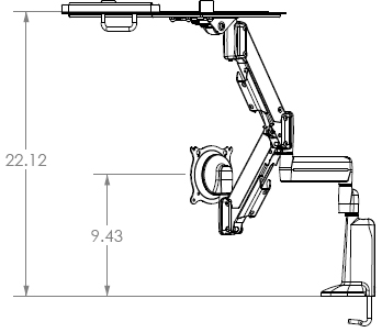 Technical Drawing for Chief KGL220S or KGL220B Desk Mount Height Adjustable Dual LCD Monitor or Laptop Arm