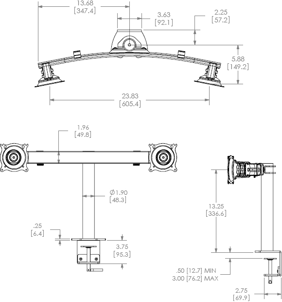 Technical Drawing for Chief Dual Horizontal Desk Clamp Mount - KTC220B or KTC220S