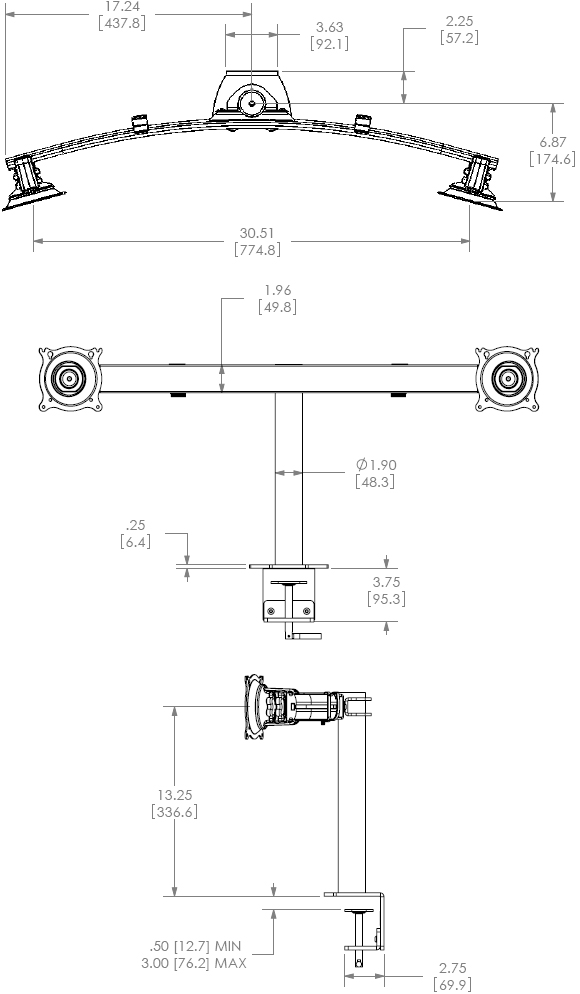 Technical Drawing for Chief Widescreen Dual Horizontal Desk Clamp Mount KTC225B or KTC225S