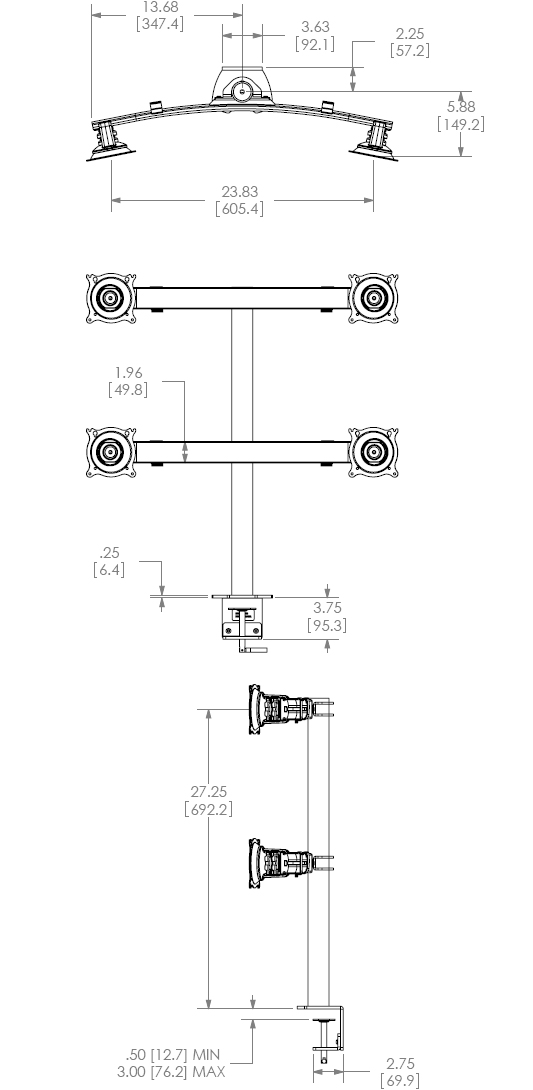 Technical Drawing for Chief Quad Monitor Desk Clamp Mount - KTC440B or KTC440S